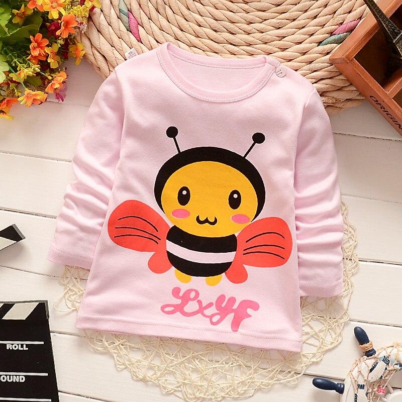 Одежда для маленьких девочек Детская Милая пчелы с принтом хлопковые футболки для мальчиков hisrts одежда Детские футболки с длинными рукавам...