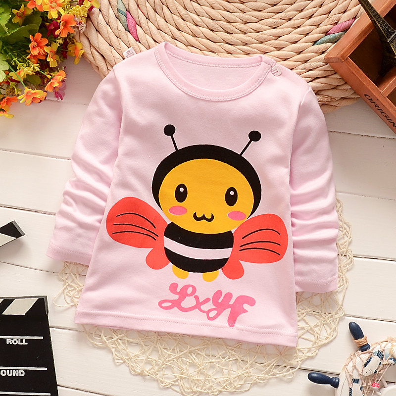 Baby Girls Clothes Kid Cute Bee Printed Cotton T Shirts Boys T Hisrts Clothes Children Long Sleeve T-Shirts Infant Tee Tops floral printed raglan sleeve tee