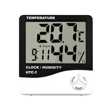 купить HTC-1 LCD Electronic Temperature Indoor Room Humidity Meter Digital Thermometer Hygrometer Weather Station Alarm Clock по цене 401.93 рублей