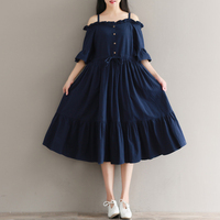 Mori Girl Sweet Cotton Dress Ruffles 2018 New Fashion Summer Dress Women Off The Shoulder Navy Blue Vestidos Loose Clothing