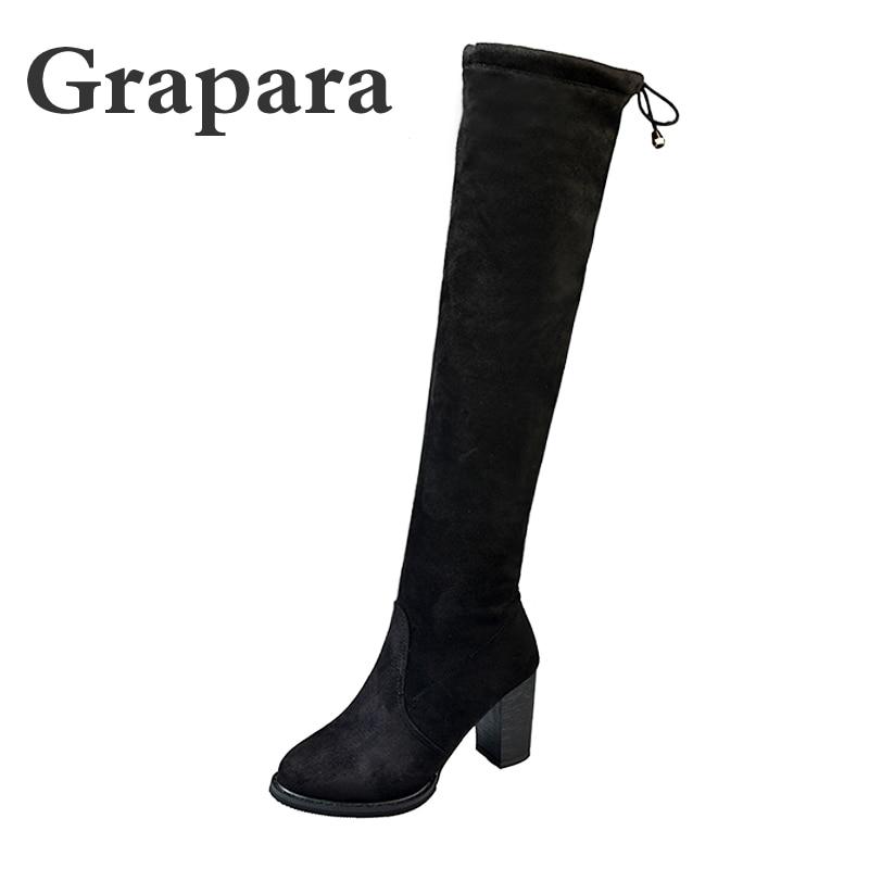 Nuevas Felpa Tacones Grueso Zapatos Plataforma Sexy Grapara Femenino Mujeres Rodilla 2018 Botas Flock Mujer Negro Altos Slip On Corta f0S6CddqnW