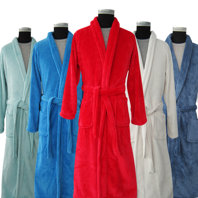 New Arrival Luxury Winter Long Bathrobe Warm Silk Flannel Kimono Bath Robe for Women Men Night Dressing Gown Bridesmaid Robes