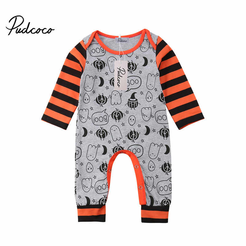 Hot US Halloween Baby Baby Meisje Jongen Lange Mouw Rompertjes Jumpsuit Playsuit Actieve Party Gift Katoen Outfits Set 0- 24 m