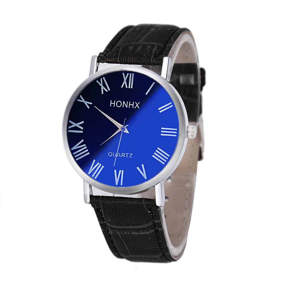 Hot Fashion Women <font><b>Boys</b></font> Mens Watches Brand Luxury Vintage Classic Big Dial Casual Sport Quartz Wrist Watches <font><b>Blu-ray</b></font> Mirror Clock