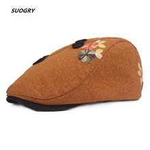 SUOGRY Women Beret Cotton Burgundy Flower Duckbill Ivy Caps Female Floral Vintage Ethnic Style Summer Flat Hats New Fashion