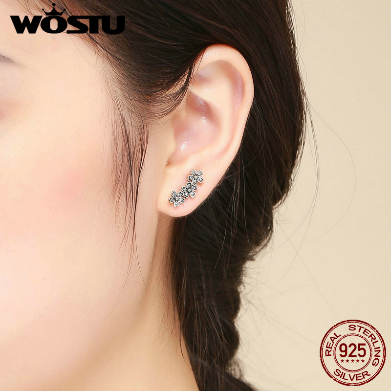 WOSTU Authentic 925 Sterling Silver Stackable Daisy Floral Stud Earrings Clear CZ Flower Woman Earring Party Jewelry Gift CQE419 1