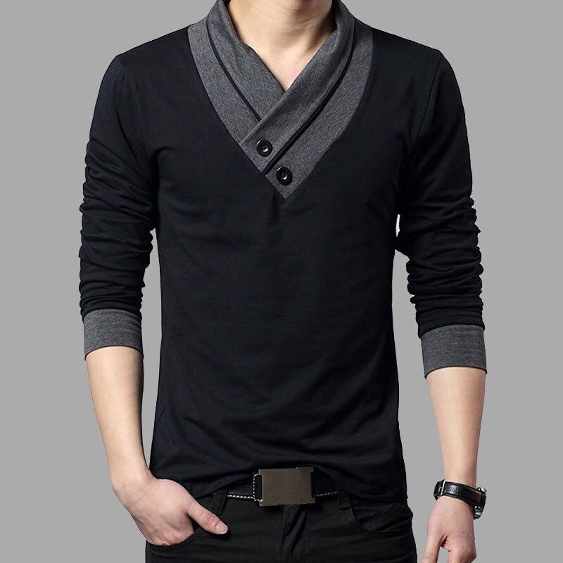 2017 Tendencia de la Moda Marca Slim Fit de Manga Larga Camiseta de Los Hombres Patchwork Cuello Camiseta Con Cuello En V de Los Hombres T-Shirt de Algodón Camisetas Tallas grandes 4XL