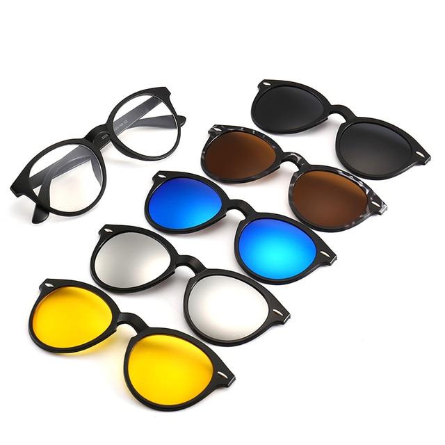 60f92ab3402 2018 Sunglasses Men Polarized Uv400 High 5 in 1 Magnetic Sunglasses clip on glasses  Magnetic lens