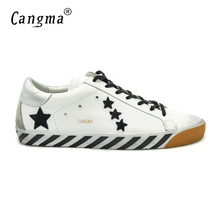 CANGMA Mens Luxury Brand Shoes Genuine Leather Superstar Designer Casual White Stella Shoes Men High Quality Zapatillas Hombre