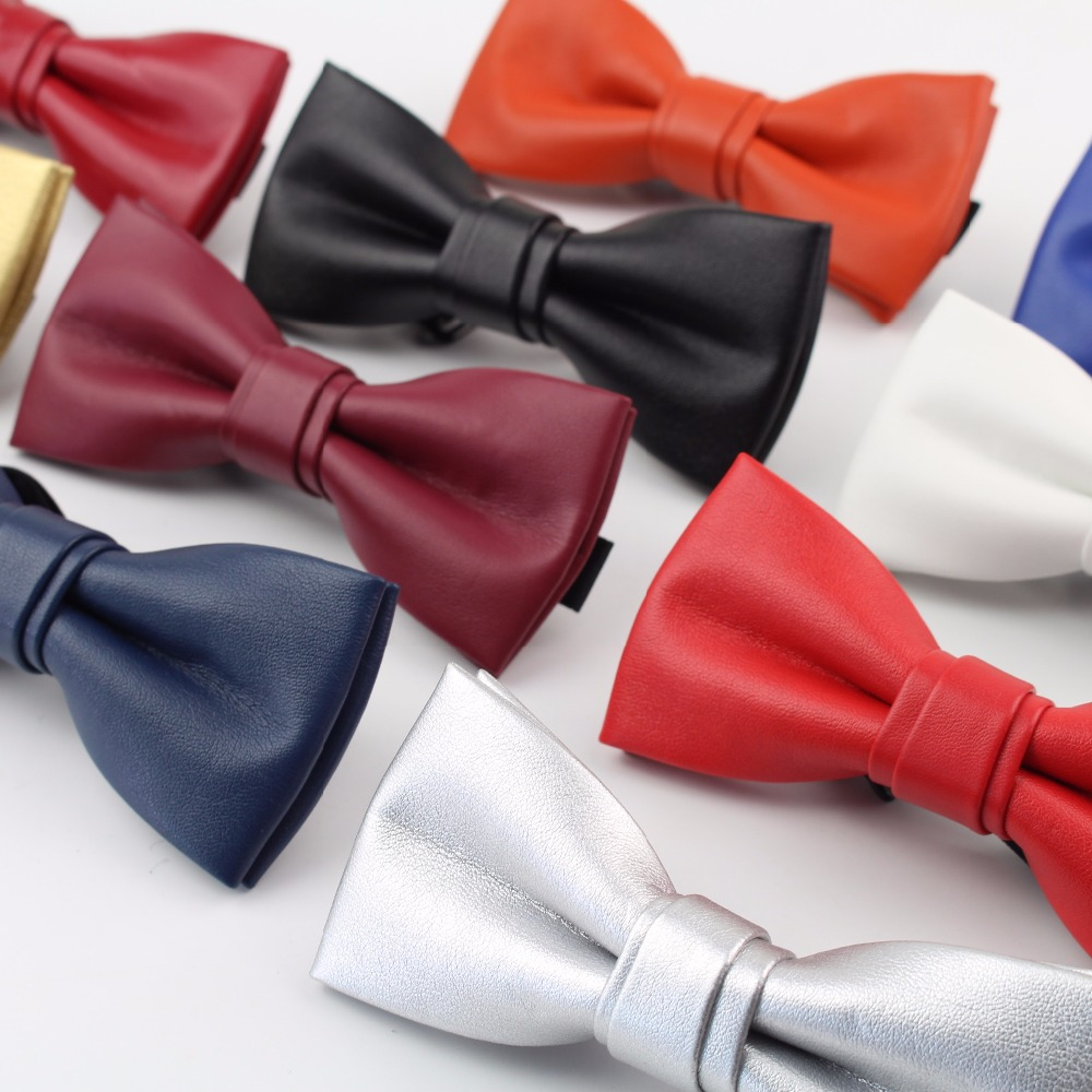 High Quality Classic PU Pattern Leather Ties Butterfly Wedding Party Bowtie Solid Color Plush Noble Bow Tie