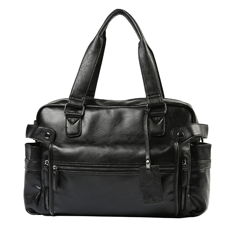 Large Capacity Men Leather Travel Bag Man Casual Handbag Computer Laptop Bag With Front Pocket Luggage Duffle Shoulder Bag