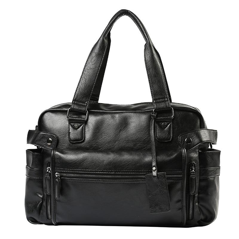 Large Capacity Men Leather Travel Bag Man Casual Handbag Computer Laptop Bag With Front Pocket Luggage Duffle Shoulder Bag