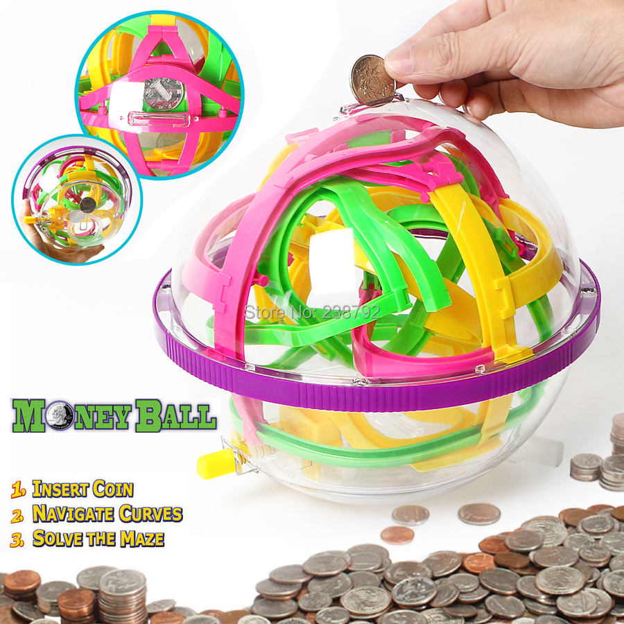 magical intelligent maze ball 100 steps Money Ball Coin Game Maze Brain Teaser Educational Marble Puzzle Game perplexus balls