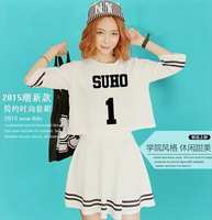 Summer spring women's two pieces set kpop exo member name printing o neck short sleeve crop top set high waist women dress