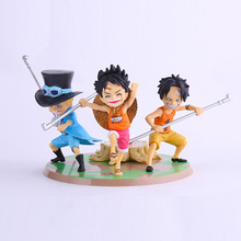 Hot Sale 3pcs/lot Anime Figure PVC Doll Toys One Piece ASL Luffy Ace Sabo Three Brothers Model 9CM