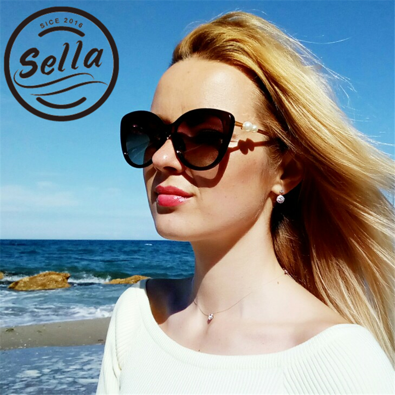 Sella New Fashion Women Polarized Sunglasses Cateye Pearl Decoration Classic Brand Designer Trending Ladies Driving UV400