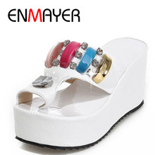 ENMAYER Size 34-43 Fashion Sandals Cutout Wedge Heels Platform Open Toe Summer Shoes Flip Flops Chic Sandals Sexy Women Sandals