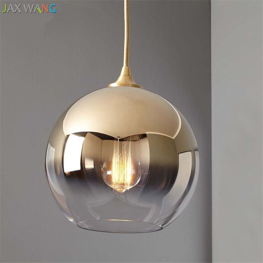 quality design 4136f f7b13 US $108.96 20% OFF Modern Gold Gradient Glass Ball Pendant Lights Led  Hanging Lamps for Living Room Bedroom Bedside Lamp Indoor Lighting  Fixtures-in ...