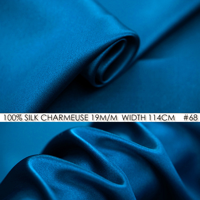 100% SILK CHARMEUSE SATIN 114cm width 19momme Pure Mulberry Silk Fabric China Silk bodycon dress Tissu Mongolia Blue NO 68