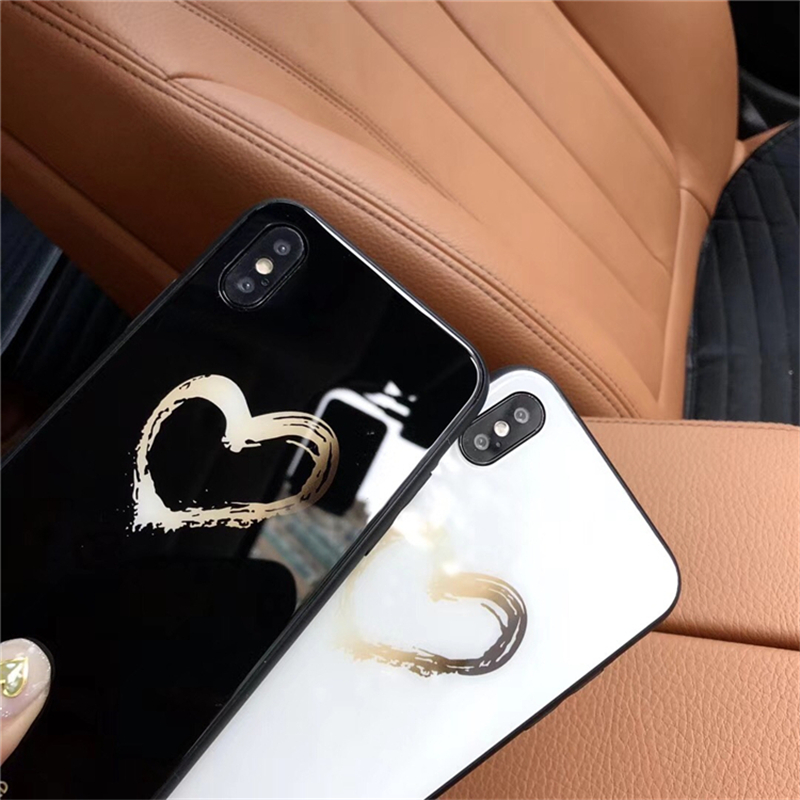 BONVAN Tempered Glass Case For iPhone X Lovely Heart Hard Back Cover Soft Silicone Bumper For iPhone 7 6S 8 Plus 6 Plus Cases08