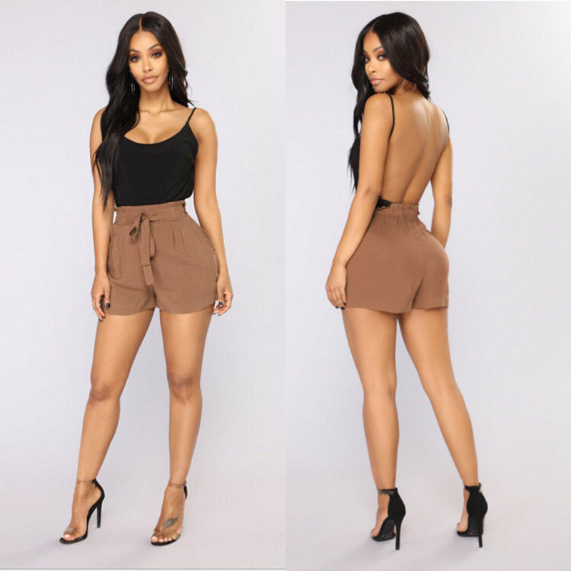 Women Short Pants Summer Female Loose Comfortable Shorts Ladies Bow Beach High Waist  Solid Color Short Trousers New Arrival