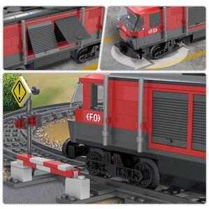 Image 5 - 854PCS รถไฟสินค้ารถไฟ Intercity Passenge Building Blocks City รถไฟตัวเลขตำรวจอิฐของเล่นสำหรับของขวัญเด็ก