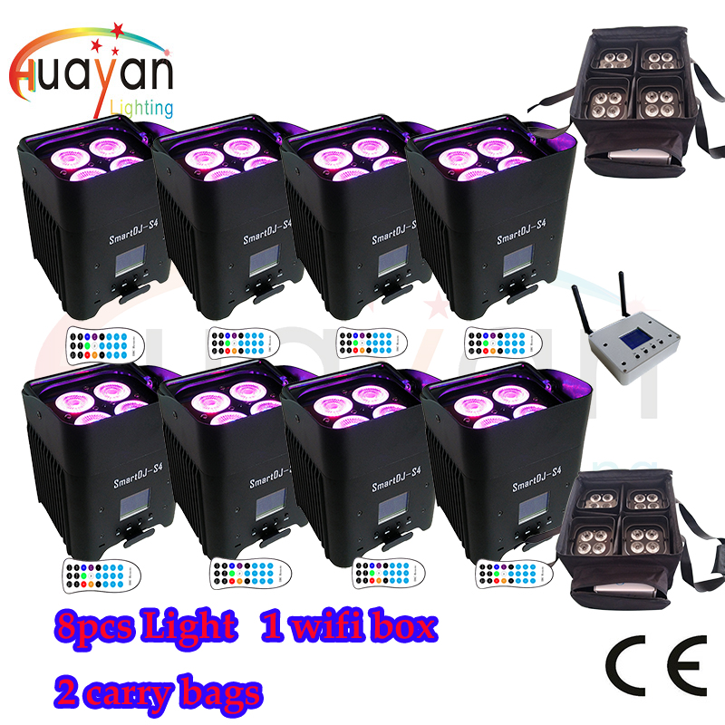 Free Shipping:8pcs Black New SmartDJ LED Flat Par with Battery&Wireless Working With iOS, Android System+2 carry Bag+ Wifi box