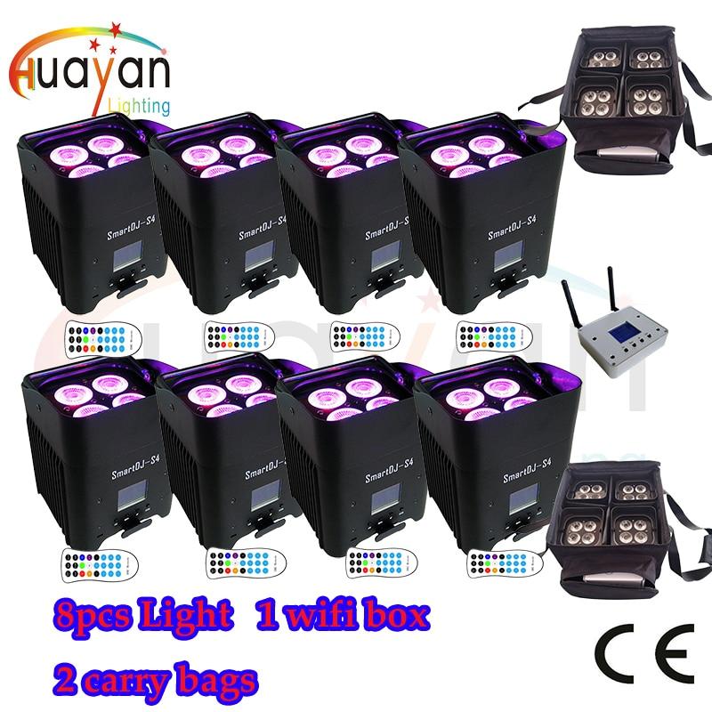 Trasporto Libero: 8 pz Nero Nuovo SmartDJ LED Flat Par con Batteria & Wireless di Lavoro Con iOS, sistema Android + 2 borsa per il trasporto + Wifi box