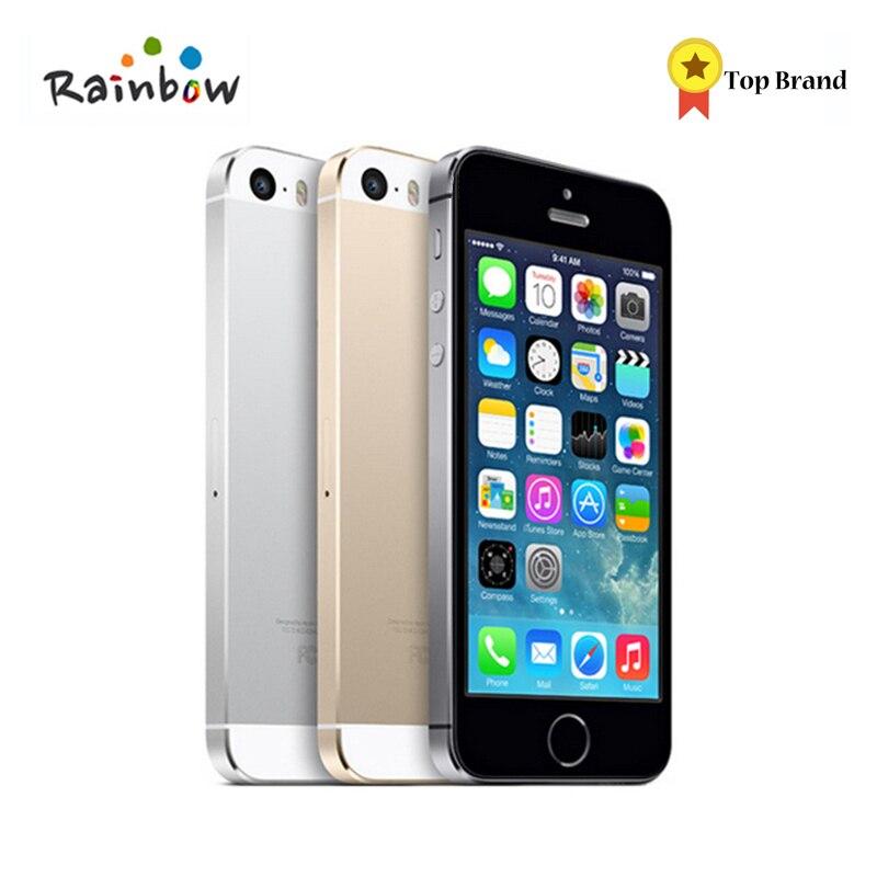 Débloqué Original Apple iPhone 5S 16 GB/32 GB ROM 8MP caméra 1136x640 pixel WIFI GPS Bluetooth cellulaire téléphone Multi Langue