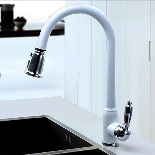 2017 New Arrival Patent Design Polished Copper Water saving Filter Swivel High Quality Sink Mixer White Pull Out Kitchen Faucet