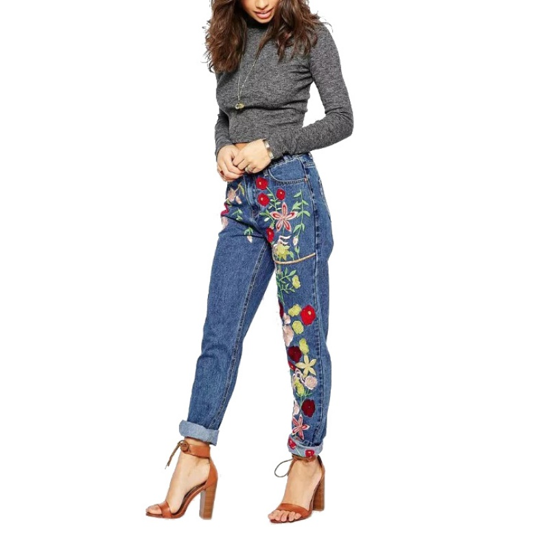 2017 Women Europe Style Loose Straight Jeans Flower Embroidery Decroted Softene Trousers S XL