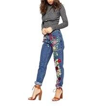 2017 Женщины Европа Стиль Свободные Прямые Джинсы Цветок Вышивка Decroted Softene Брюки S-XL