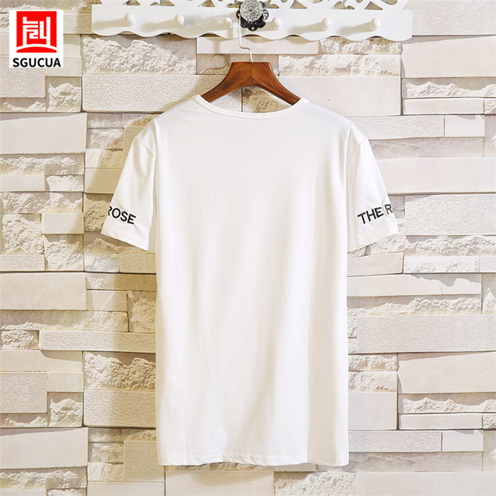 2018Summer New Round Neck mens tshirts Slim Short Sleeve Casual men Clothing Rose Printed Couple Man Clothes Plus Size M-5XL tee