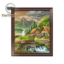 FineTime Landscape Diamond Embroidery 5D DIY partial Diamond Painting Circle Rhinestone Cross-stitch Home Decoration Gift finetime 5d diy diamond painting cross stitch sea shell starfish landscape home decoration diamond embroidery rhinestone mosaic