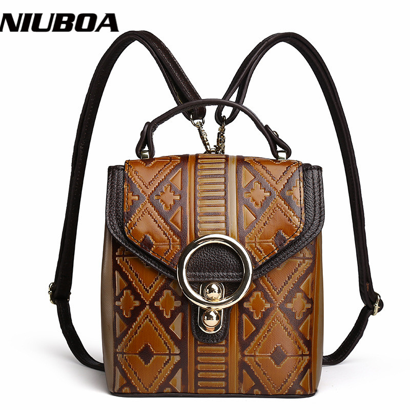 NIUBOA 100% Genuine Leather Backpack New Woman Mini Travel Backpack Real Leather School Weekend Bags High Quality Shoulder Packs niuboa 100