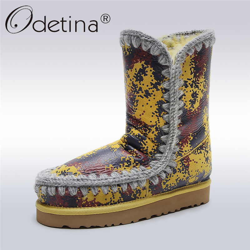 Odetina High Quality Genuine Sheepskin Leather Snow Boots For Women Natural Wool Fur Slip on Ankle Boots Flat Winter Warm Shoes цена и фото