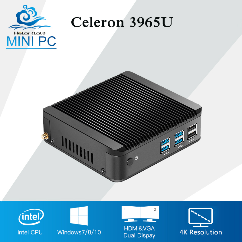 Celeron 3965U 4K Mini PC Fanless Windows 10 Mini Computer Desktop Intel HD Graphics 610 Barebone HTPC HDMI+VGA Office Computer barebone mini pc desktop computer nano itx j1900 4 lan x86 mini computer pfsense firewall linux fanless pc mini server 190g4