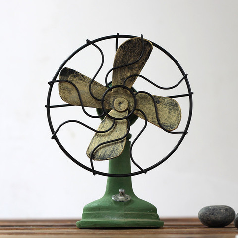 Home Accessories Craft Retro Decoration Vintage Fan Miniature Decoration Houses Decor DIY Accessories Souvenir Gift Karachi