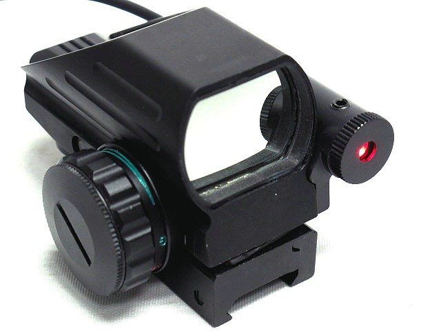 Hunting Tactical Holographic Reflex 4 Reticles Red/Green Dot Sight Scope w/Red Laser for Airsoft Standard Weaver Rail el 1400 holographic red dot sight reflex sight 21mm rail mirino laser per carabina hunting optica scope