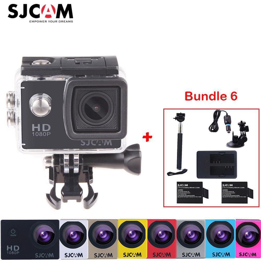 Original Sjcam SJ4000 2 Screen 12MP 1080P 30M Waterproof Sports Action Camera DVR +2 Battery+Dual Charger+Selfies Stick+Car Kit