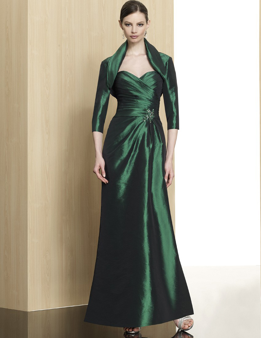 Elegant Emerald Green Evening Dress With Jacket 2015 Plus -6157