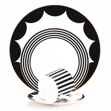 Bone China Platter Porcelain Steak Plate Dinner Dishes Cup And Saucer Home Decoration Ceramics Elegant Black Stripe Tableware
