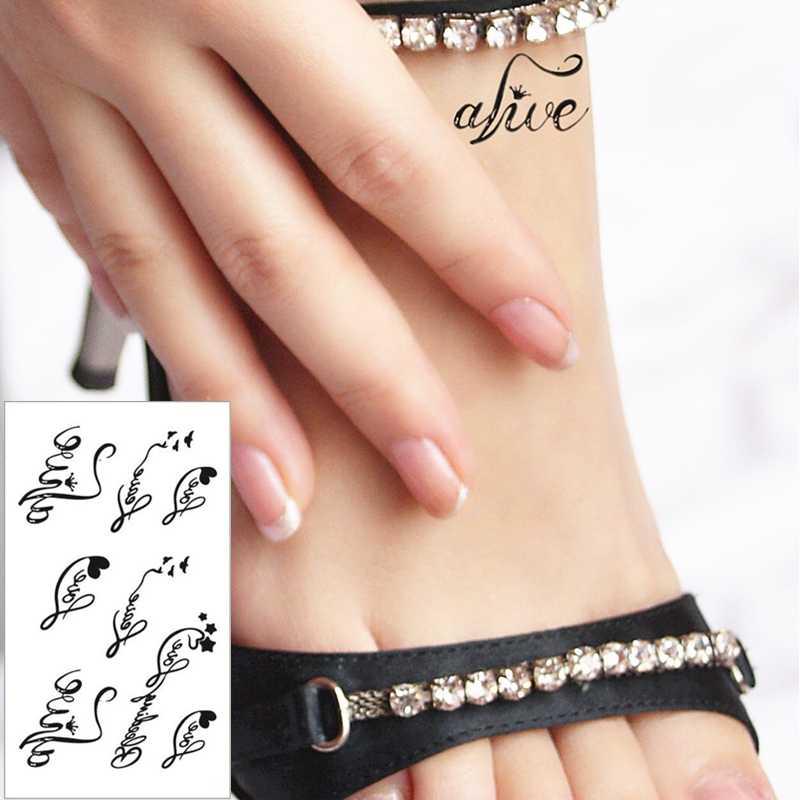 Cute Love Letters Flash Tattoo Hand Sticker 10 5 6cm Small