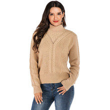 CHRLEISURE Autumn Winter Knitted sweaters woman Casual Solid Thicken clothes High-necked Large size Loose sweater turtleneck