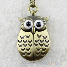 Hot Sales Vintage Bronze Retro Slide Smart Owl Pocket Pendant Long Necklace Watch