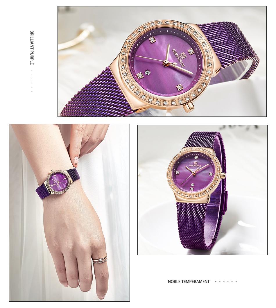 NAVIFORCE New Rose Gold Women Watch Business Quartz Watch Ladies Top Brand Luxury Female Wrist Watch Girl Clock Relogio Feminin (8)