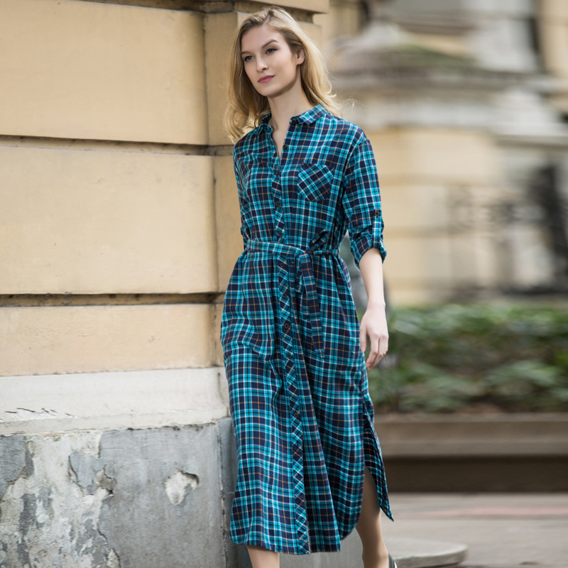 95c2f0fe4144 Veri Gude Long Plaid Shirt Dress Long Sleeve Women Cotton Long Shirtdress  for Autumn Side Slit Women s dress plus size S XXL-in Dresses from Women s  ...