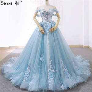 Image 1 - Blue Off Shoulder Handmade Flowers Wedding Dresses 2020 Sexy Sleeveless Crystal High end Bridal Gowns Real Photo 66706