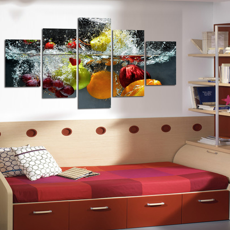 5 Panel Wall Art Painting print On Canvas Picture  Modern Fruit - Home Decor - Photo 4
