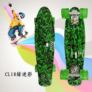 """Image 2 - Plastik Kaykay 22 """"Parlayan renk karışık Paten Cruiser Kurulu Plastik Retro Tarzı Muz Kaykay Işık Mini Longboard"""